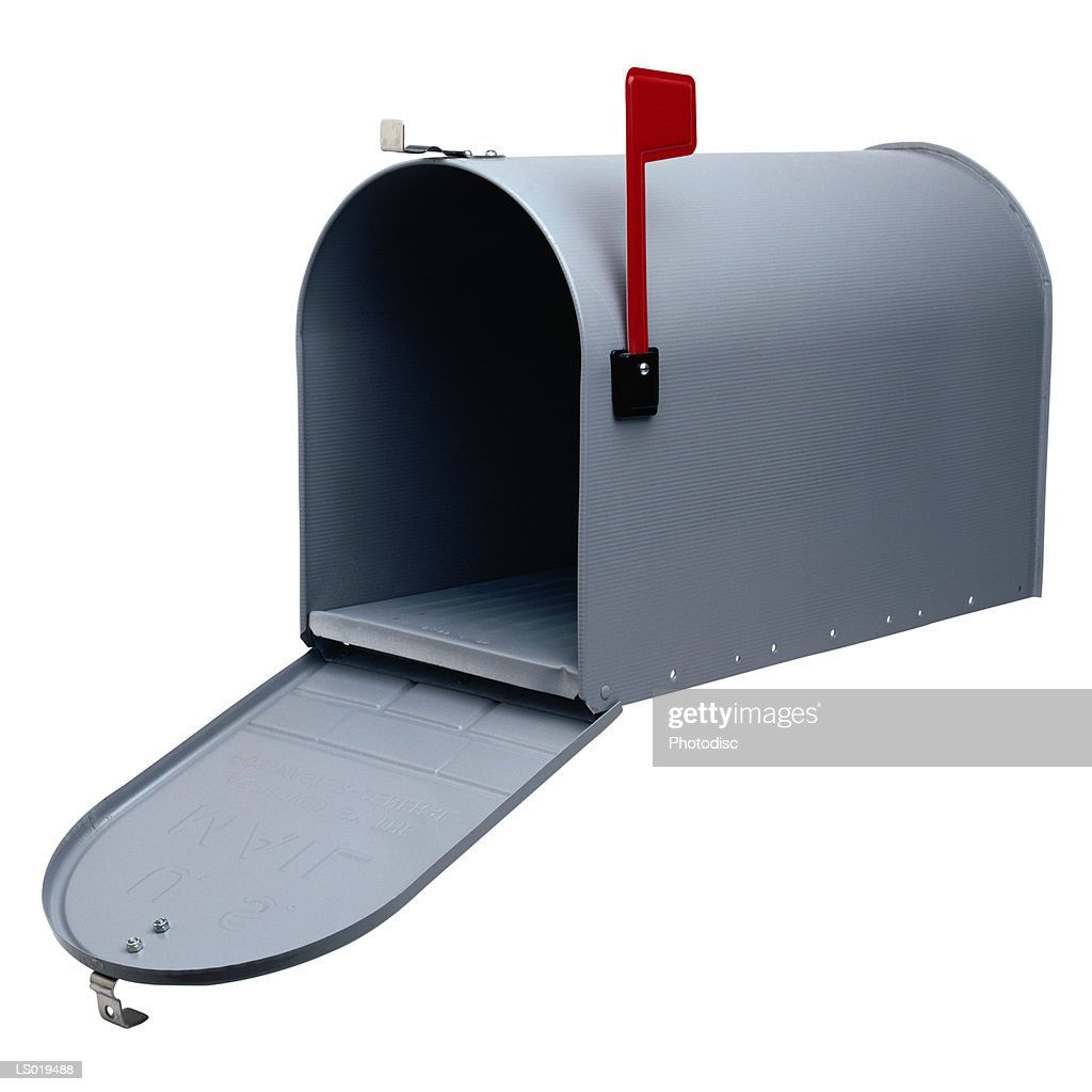 open mailbox. Open Mailbox With Flag Up : Stock Photo