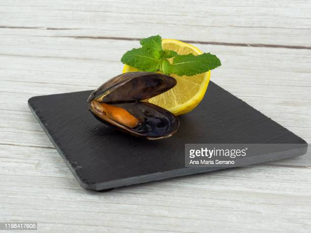 open mussel half lemon with some peppermint leaves on a slate plate - コース料理 ストックフォトと画像