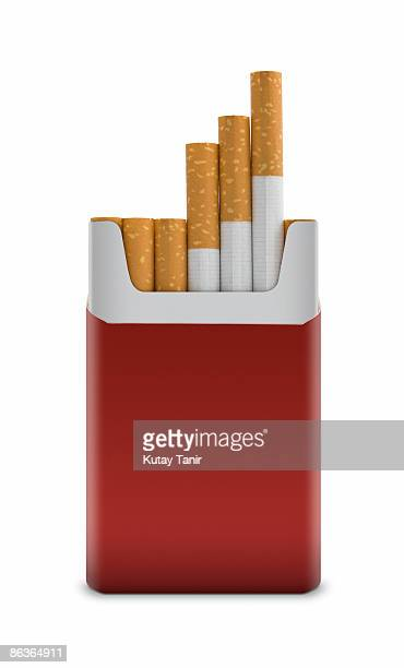 open pack of cigarettes, isolated on white. - cigarette pack stock pictures, royalty-free photos & images