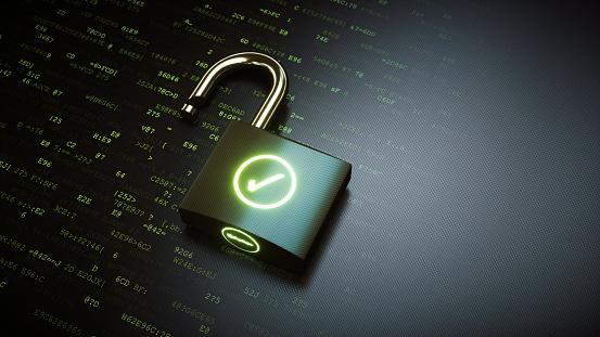 Open padlock with green OK checkmark 913014074