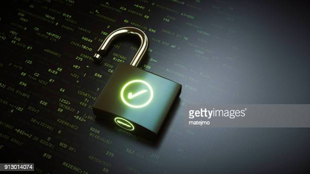 open padlock with green ok checkmark - sicurezza foto e immagini stock