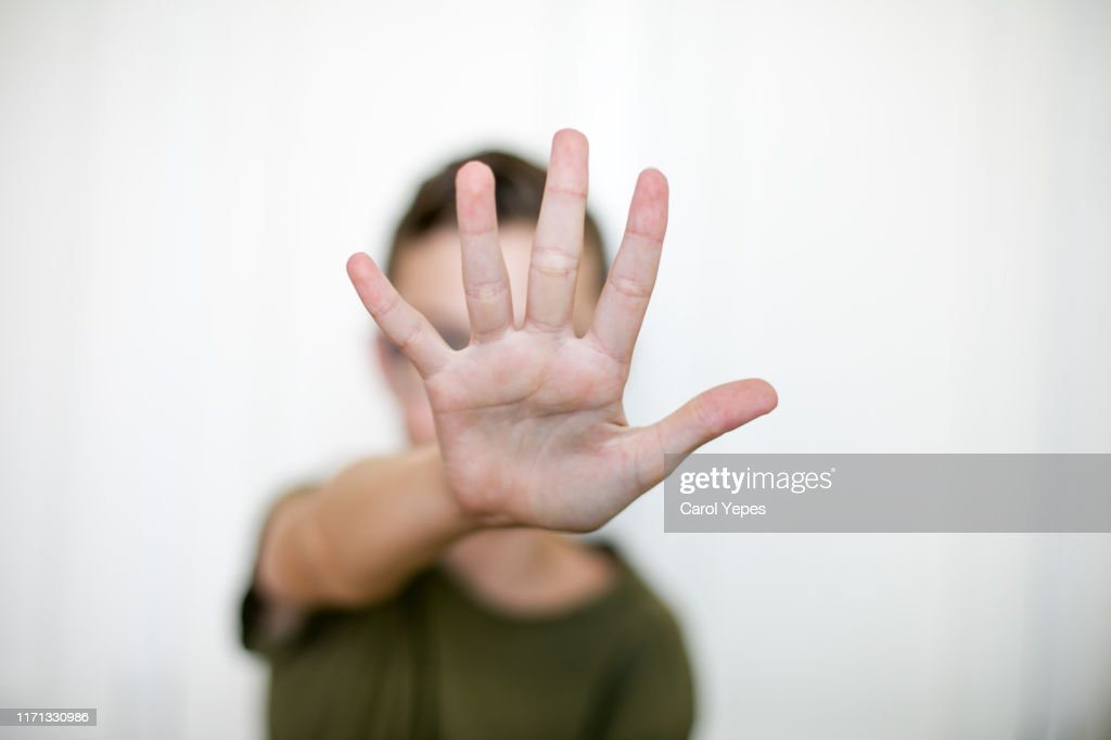 open palm.Stop gesture : Stock Photo
