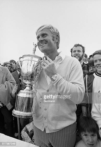 US Open Pebble Beach California Jack Nicklaus grins while holding winner's cup after his victory in the US Open Golf Tournament at Pebble Beach June...