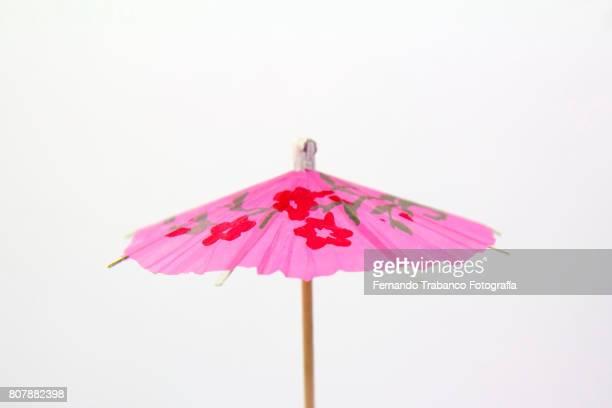 Open pink umbrella