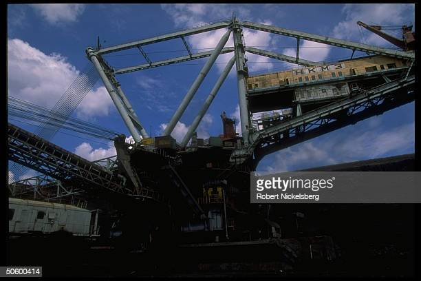 Open pit coal mine extracting machinery in motion at 1 of world's largest coal mines extracting 200000 tons day in Central Steppes region Ekibastuz