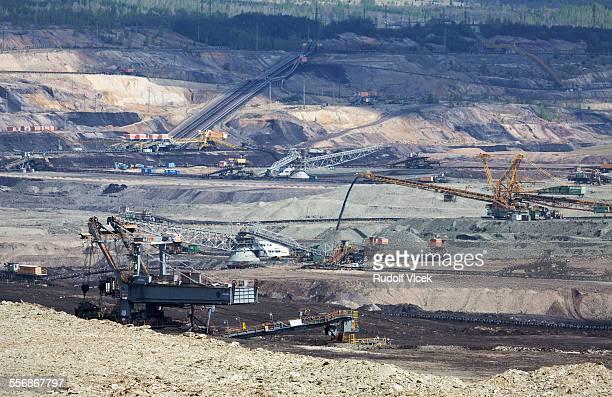 Open pit coal mine, heavy machinery