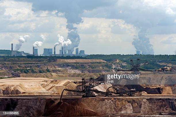 Open pit Garzweiler with the Frimmersdorf, Neurath and Niederaussem power plants in the back, North Rhine-Westphalia, Germany, Europe