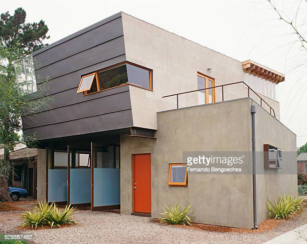 open pivot windows on front of contemporary house - fernando bengoechea stock pictures, royalty-free photos & images
