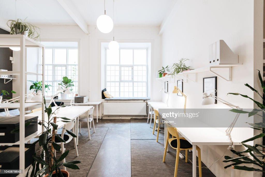 Open plan co-working office in Sweden : Stock Photo