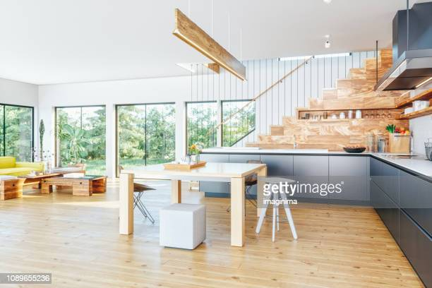 open plan modern kitchen and living room - dining room stock pictures, royalty-free photos & images