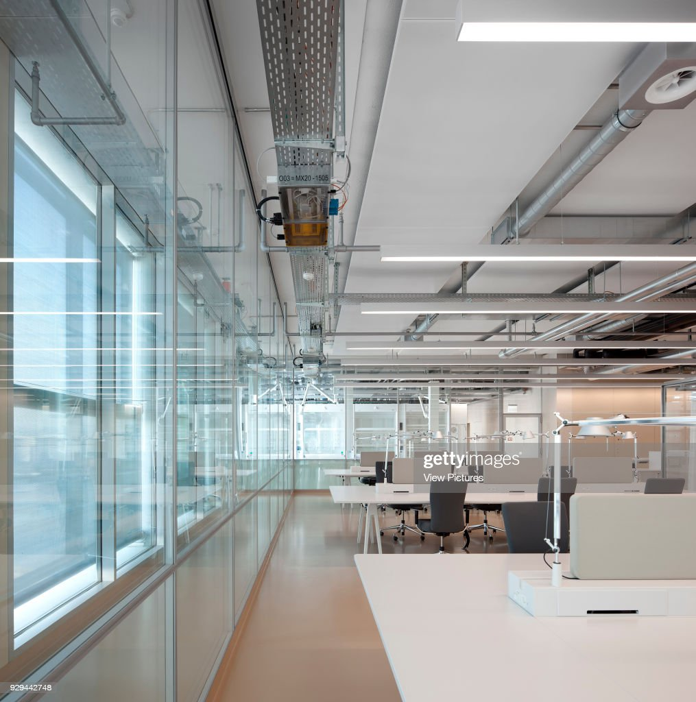 Open plan office with glass wall. Novartis Campus Virchow 6, Basel ...