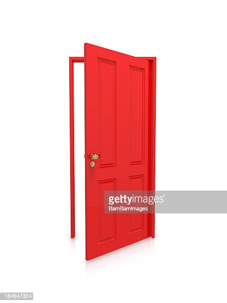 Open red door on white background