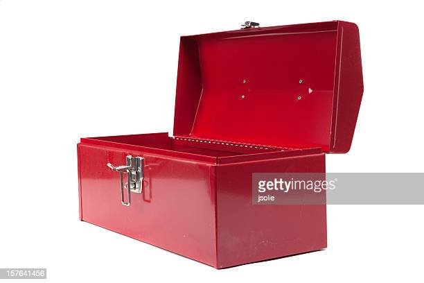 open red dusty toolbox - toolbox stock photos and pictures