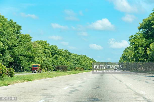 Open road Cuba National Highway from Santa Clara to Havana Scenic drive in Cuba on the way to Havana