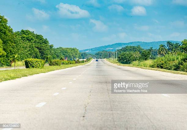 Open road in Cuba National Highway from Santa Clara to Havana Scenic drive in the Cuba on the way to havana