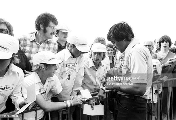 Open runnerup Severiano Ballesteros signs autographs for young fans