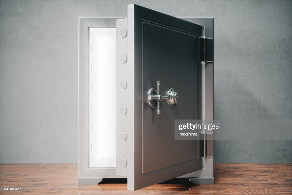 Caja fuerte abierta con luz : Foto de stock