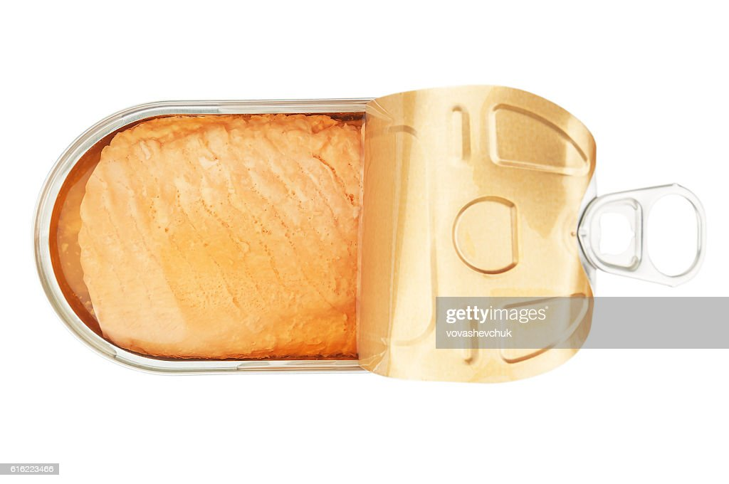 open salmon tin : Stock Photo