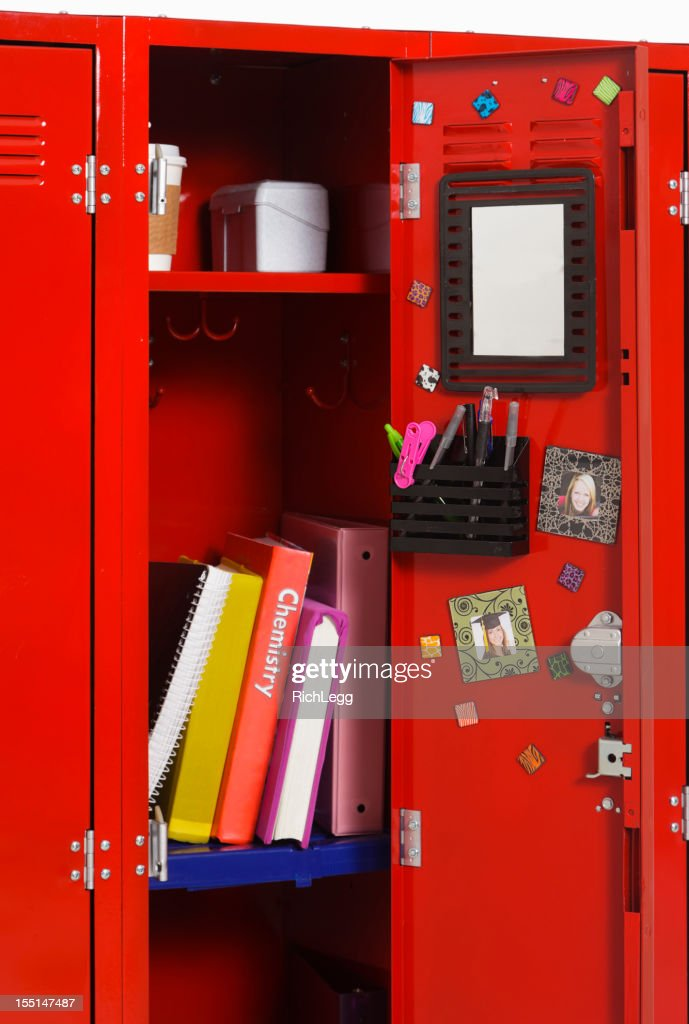 Aberto escola armários : Foto de stock