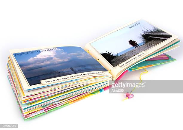 open scrapbook - picture magazine stock pictures, royalty-free photos & images