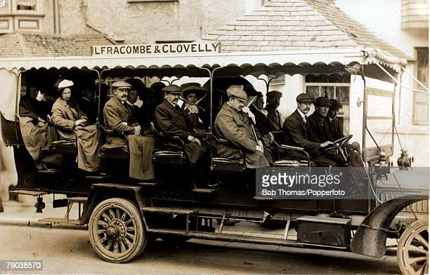 Open sided bus full of passengers on a run from Ilfracombe to Clovelly Devon 22nd July 1910