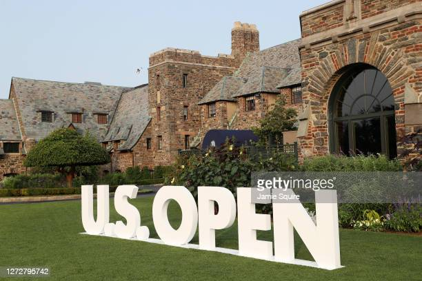 Open sign is seen outside the clubhouse during a practice round prior to the 120th U.S. Open Championship on September 16, 2020 at Winged Foot Golf...
