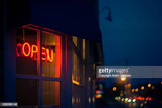 Open sign late at night
