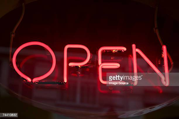 open sign - neon letters stock photos and pictures
