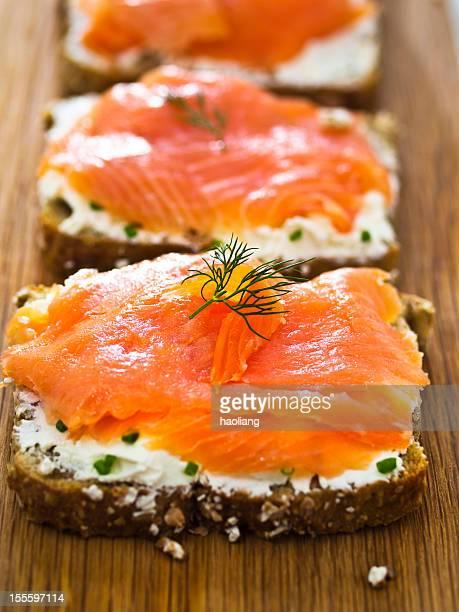 Open smoke salmon sandwich