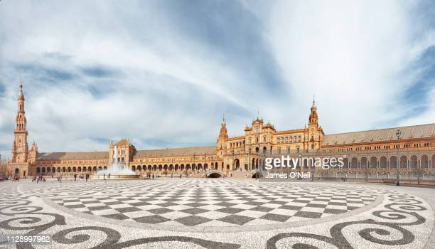 open space at plaza de españa, seville, spain - seville stock pictures, royalty-free photos & images