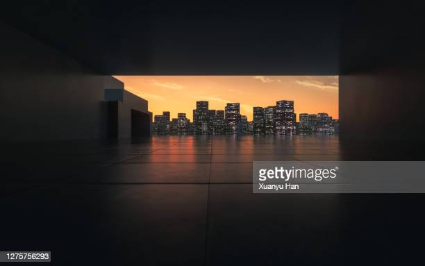open space in the city at sunset - courtyard stock pictures, royalty-free photos & images