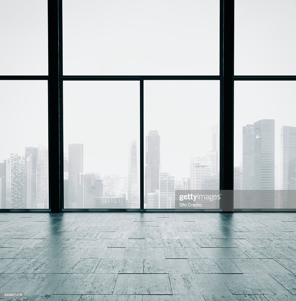 Open space interior with panoramic window : Foto stock