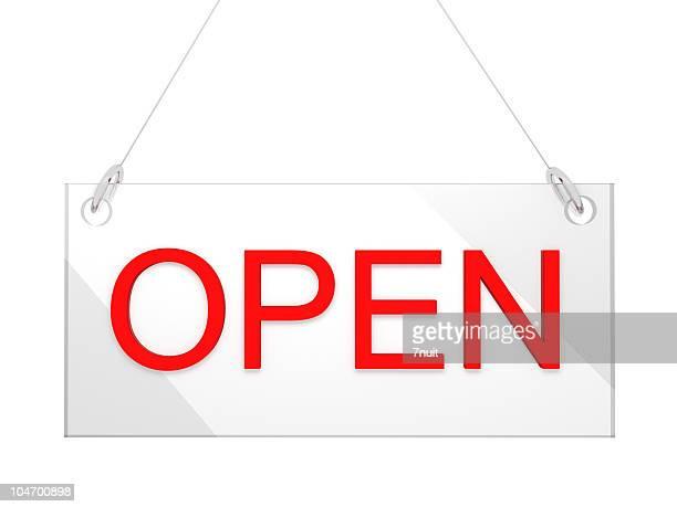 3 D cartel de vidrio abierta tienda-Vista de frente