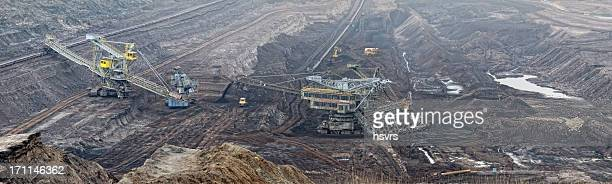 Open Strip Coal mine with Bucket-wheel excavator at conveyor belt