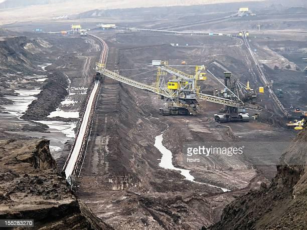 open Strip Coal mine with large excavators at conveyor belt