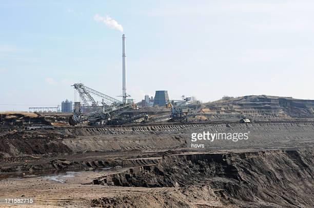 Offene Strip Coal mine mit power station