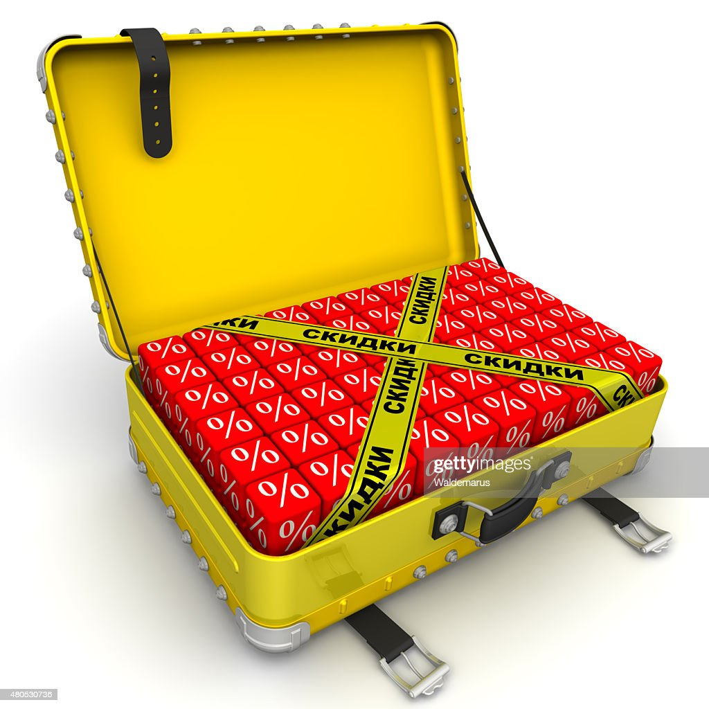 Open suitcase full of discounts. Financial concept : Stockfoto