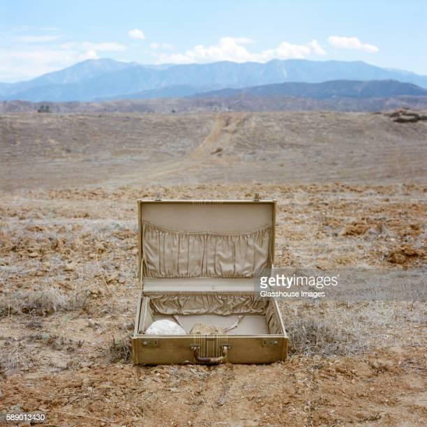 Open Suitcase in Desert