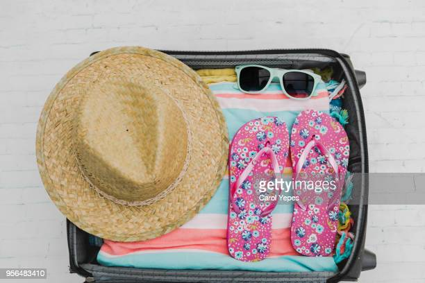 open suitcase with casual female clothes for summer - galicia stock pictures, royalty-free photos & images