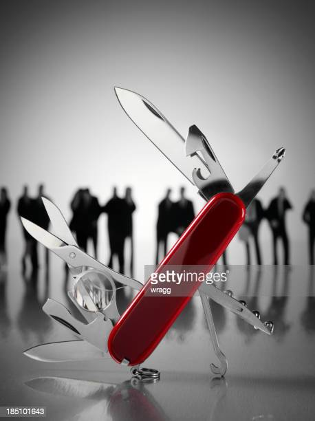 Open Swiss Army Knife with Business People