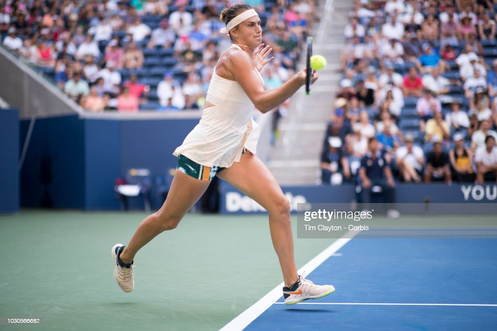 Open Tennis Tournament- Day Eight. Aryna Sabalenka of Belarus in action against Naomi Osaka of Japan in the Women's Singles round four match on Louis Armstrong Stadium at the 2018 US Open Tennis Tournament at the USTA Billie Jean King National Tennis Center on September 3rd, 2018 in Flushing, Queens, New York City.
