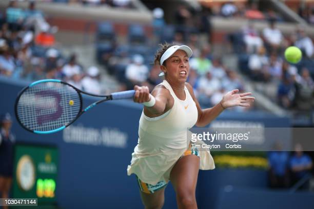 Open Tennis Tournament Day Eight Madison Keys of the United States in action against Dominika Cibulkova of Slovakia in the Women's Singles round four...