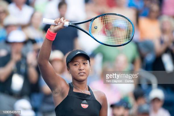 Open Tennis Tournament Day Eight Naomi Osaka of Japan celebrates her victory against Aryna Sabalenka of Belarus in the Women's Singles round four...