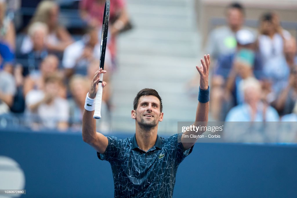 Open Tennis Tournament- Day Eight. Novak Djokovic of Serbia celebrates his win against Joao Sousa of Portugal in the Men's Singles round four match on Arthur Ashe Stadium Stadium at the 2018 US Open Tennis Tournament at the USTA Billie Jean King National Tennis Center on September 3rd, 2018 in Flushing, Queens, New York City.