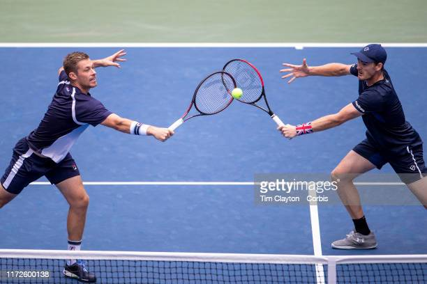 Open Tennis Tournament- Day Eleven. Jamie Murray and Neal Skupski of Great Britain in action against Juan Sebastian Cabal and Robert Farah of...