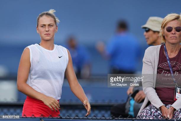 S Open Tennis Tournament DAY ELEVEN Marta Kostyuk of the Ukraine with her coach Talyna Beiko during the Junior Girls competition at the US Open...