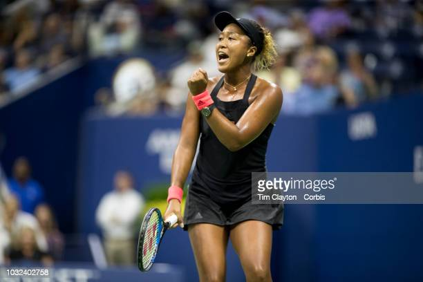 Open Tennis Tournament Day Eleven Naomi Osaka of Japan reacts to holding her serve during her victory against against Madison Keys of the United...