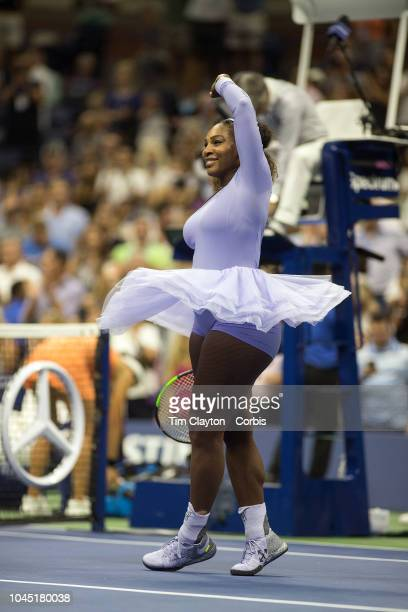 Open Tennis Tournament- Day Eleven. Serena Williams of the United States performs a victory twirl after her win against Anastasija Sevastova of...