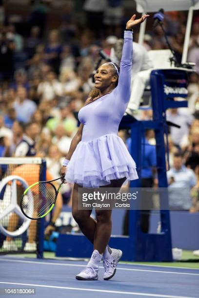 Open Tennis Tournament Day Eleven Serena Williams of the United States performs a victory twirl after her win against Anastasija Sevastova of Latvia...