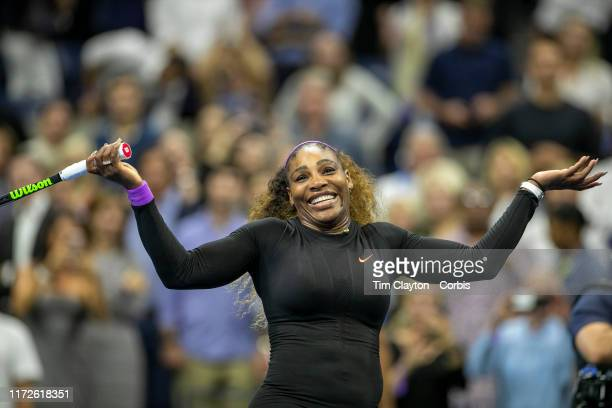 Open Tennis Tournament Day Eleven Serena Williams of the United States celebrates her victory against Elina Svitolina of the Ukraine hitting balls to...